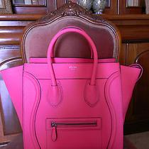 Auth Celine Mini Luggage Fluo Pink Bag Drummed Leather (Phantom Nano Trapeze) Photo