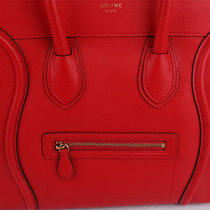 Auth Celine Mini Luggage Fluo Red Bright Color Leather Tote Bag Photo