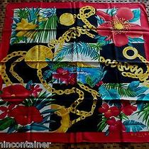 Auth Celine Paris Gold Necklaces Floral on Multicolor 100% Silk Twill Scarf Photo