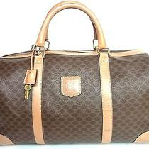 Auth Celine Paris Macadam Boston 40 Duffle Hand Travel Bag Luggage Brown Italy Photo