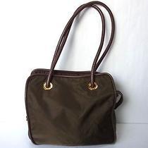 Auth Celine Paris Nylon Shoulder Tote Party Handbag Brown Purse Pouch Italy Photo