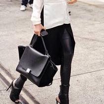 Auth Celine Phoebephilo 2014 Black Drummed Leather Long Strap Trapeze Bag Medium Photo