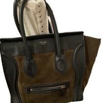 Auth Celine  Purse Luggage Olive Suede & Black Leather Tote Bag Bicolor 3300 Photo