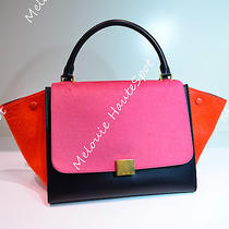Auth Celine Small Trapeze Tricolor Black Pink Orange Pony Hair Tote Bag Gold Hw Photo