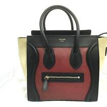 Auth Celine Suede/lambskin Leather Micro Luggage Handbag Brownish Red Photo