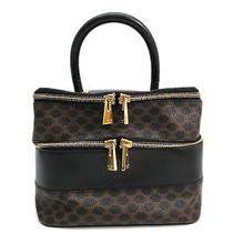 Auth Celine Vanity Bag Macadam Pvc/leather Black/brown (Bf084476) Photo