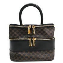 Auth Celine Vanity Bag Macadam Pvc/leather Black/brown (Bf084476) Photo