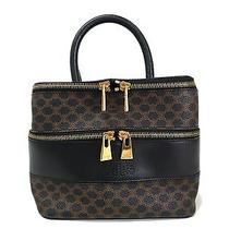Auth Celine Vanity Bag Pvc/leather Brown/black (Bf082445) Photo