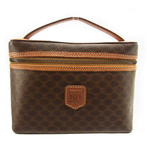 Auth Celine Vanity Pouch Macadam Brown Pvc  Leather M813 Photo