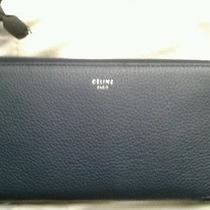 Auth Celine Zip Around Dark Blue  Drummed Leather Holder Wallet Clutch  New Photo