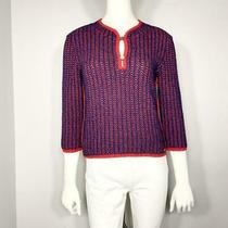 Auth Chanel 01p 7-Minute Sleeve Top Tweed Blue Red 42 L 988 Photo
