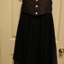 Auth Chanel 100% Silk Sleeveless Baby Doll Mini Cocktail Black Dress Size 8 Photo