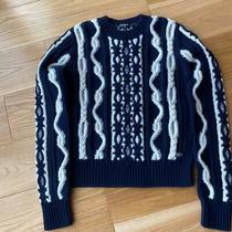 Auth Chanel 2017 Popular Knits Sweater 6 Navy White M 1064 Photo