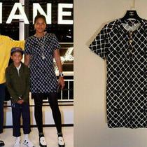Auth Chanel 2019 Dark Navy Printed Cc Logo Short Sleeve Dress Size36 Us4 Photo