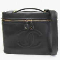 Auth Chanel 2way Vanity Bag Caviar Skin black&gold 145054 Photo