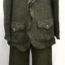 Auth Chanel 97a Coco Cc Mark Tweed Ruffled Set Up Suit Pants Green 40 Imperfect Photo
