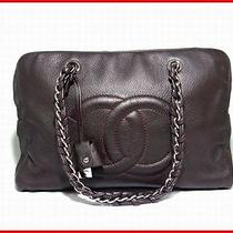 Auth Chanel A32919 Luxury Line Chain Boston Dark Brownxsilver Photo