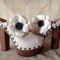 Auth Chanel Beige Ivory Dark White Clogs Shoes Heels Brooch Flower Sz 39 Photo