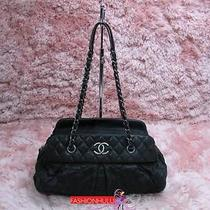 Auth Chanel Black Bowler Bowling Iridescent Ruthenium Hw Tote Photo