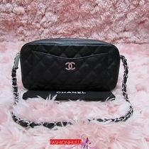 Auth Chanel Black Caviar Camera Case Bag Silver Hw Photo