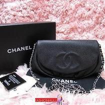 Auth Chanel Black Caviar Half Moon Wallet on Chain Woc Flap Bag Silver Hw Photo