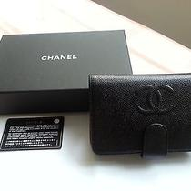 Auth Chanel Black Caviar Medium Wallet With Cc Logo Zip Coin Photo
