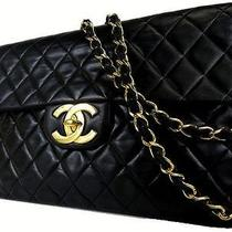 Auth Chanel Black Classicjumbo Lambskin Double Flap  Coco Shoulder Bag Photo