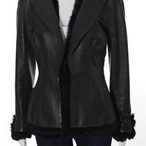 Auth Chanel Black Lambskin Leather Long Sleeve Rabbit Fur Trim Jacket Sz 40 Photo