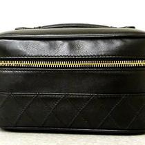 Auth Chanel Black Lambskin Vanity Cosmetic Case Bag  Photo