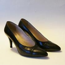 Auth Chanel Black Leather Cap Toe Pumps Heels Sz 8 Photo