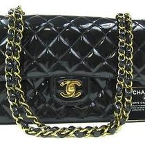 Auth Chanel Black Patent Double Flap 2.55 Coco Shoulder Bag Photo