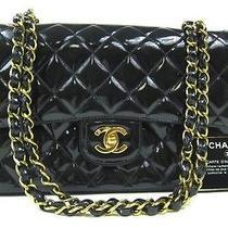 Auth Chanel Black Patent Double Flap 2.55 Coco Shoulder Bag Photo