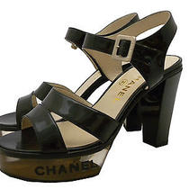 Auth Chanel Black Patent Logo Lucite High Heels Pump Ankle Strap Sandal E-1503 Photo