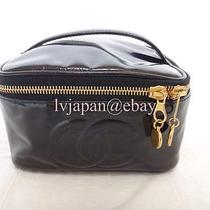 Auth Chanel Black Patent Vanity Cosmetic Case Bag  Photo