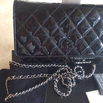 Auth Chanel  Black Quilted Patent Messenger  Black  Photo