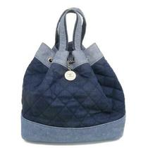 Auth Chanel Blue Drawstring Backpack Quilted Denim Photo
