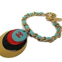 Auth Chanel Bracelet Leather/metal/plastic Gold/blue (Bf082946) Photo