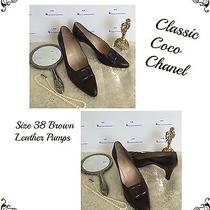 Auth Chanel by Coco Chanel Women 387.5-8 Us Brn Snakeskin Leather Pumps Heels Photo