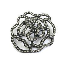 Auth Chanel Camellia Broach Metal Metallic Black (Bf057869) Photo
