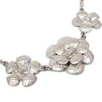 Auth Chanel Camellia Necklace Metal Silver(bf062813) Photo