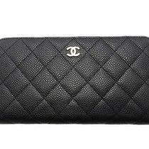 Auth. Chanel Carivar Leather Zipper Long Wallet Black Photo