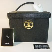 Auth Chanel Caviar Leather Cosmetic Beauty Vanity Case Tote Bag Photo