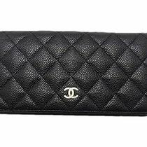Auth. Chanel Caviar Leather Long Wallet Black Photo