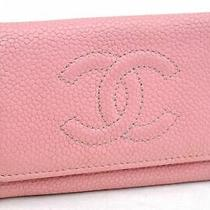 Auth Chanel Caviar Skin Key Case Cc Logo Pink 99725 Photo
