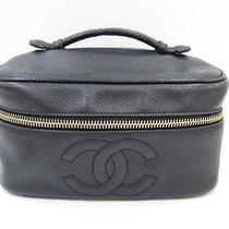 Auth Chanel Caviarskin Vanity Cosmetic Bag Makeup Black Pouch Photo