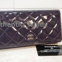 Auth Chanel Cc Logo Patent Purple Billets Long Wallet Shw Bag -Jn2a Photo