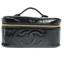 Auth Chanel Cc Logos Cosmetic Hand Bag Vanity Black Patent Leather Italy T02232 Photo