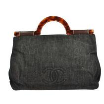 Auth Chanel Cc Logos Hand Tote Bag Denim Leather Black Italy Vintage W25370 Photo