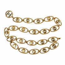 Auth Chanel Chain Belt Gold Coco Mark Total-L84cm charm2.5x5cm Ladies F/s Photo
