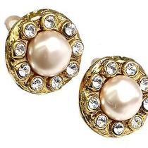 Auth Chanel Clip Earrings Metal/artificial Pearl Gold/white (Bf075328) Photo